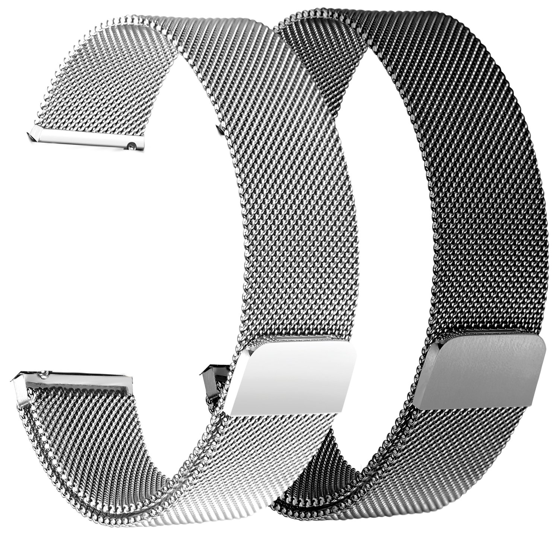 bayite for Fitbit Versaバンド2パック、ミラネーゼループメッシュスポーツバンドステンレススチールメタル磁気クラスプ留めリストバンドfor Fitbit Versa Smartwatchメンズレディース 5.5''-6.7''|2 Pack: Black + Silver 2 Pack: Black + Silver 5.5''-6.7'' B07BN9B3QL