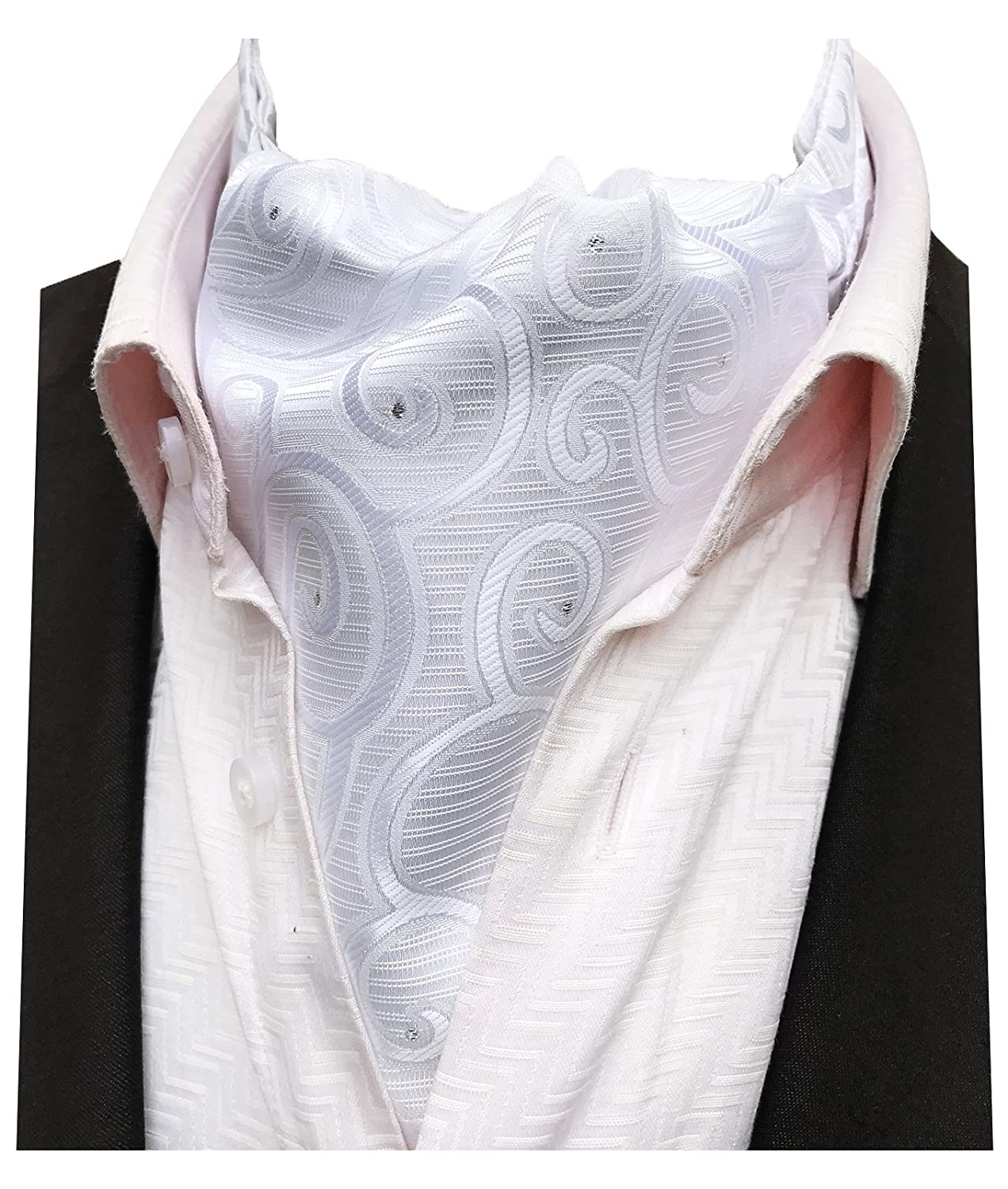 MENDENG Men's Black White Paisley Jacquard Woven Silk Self Cravat Neckties Ascot AVNTF0491