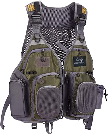 Fly Fishing Vest Pack Adjustable Size with Breathable Mesh for Men and Women