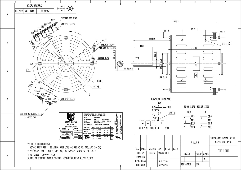 A1467 Hvac Blower Motor 1 5 3 4hp 230v Amazon Com