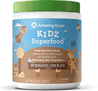 product image for Amazing Grass Kidz Superfood: Organic Greens, Fruits, Veggies & Probiotics for Healthy Kids, Outrageous Chocolate, 30 Servings
