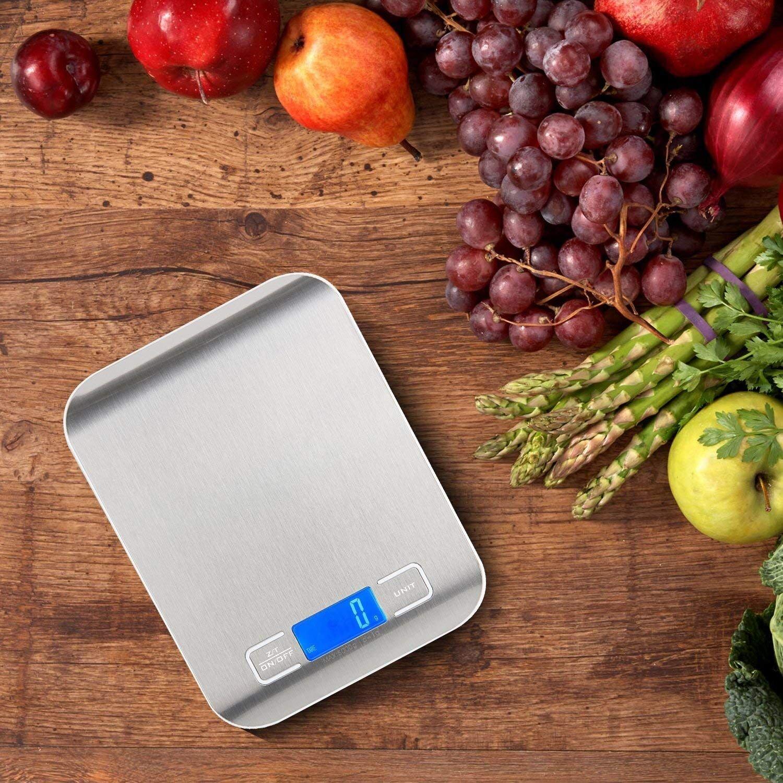 Bater/ías Incluidas 5000g//11 lbs Ozvavzk B/áscula Digital para Cocina de Acero Inoxidable Balanza de Alimentos Multifuncional Color Plata