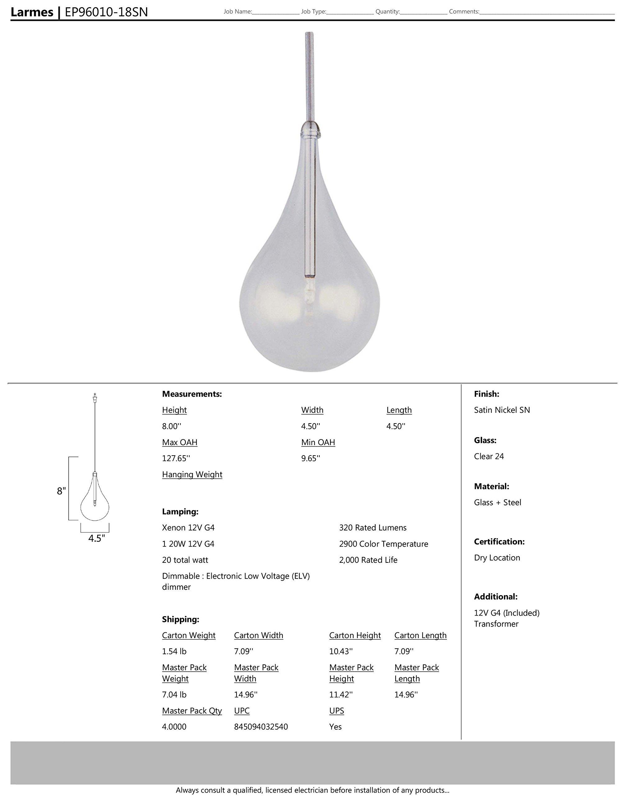 ET2 Lighting EP96010-18SN Minx Clear RapidJack Mini Pendant