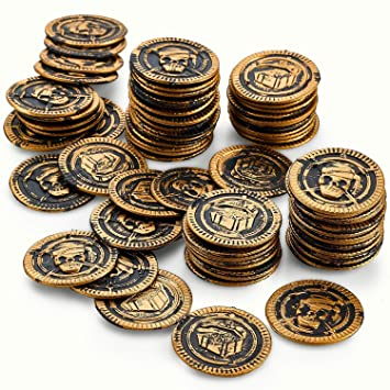 Kicko Pirate Coins Pirates Treasure Coins - 72 Pack Plastic - Pirate  Doubloons Chest Fillers - for Kids, Toys Games, Party Favors, Bag Stuffers,  Fun,