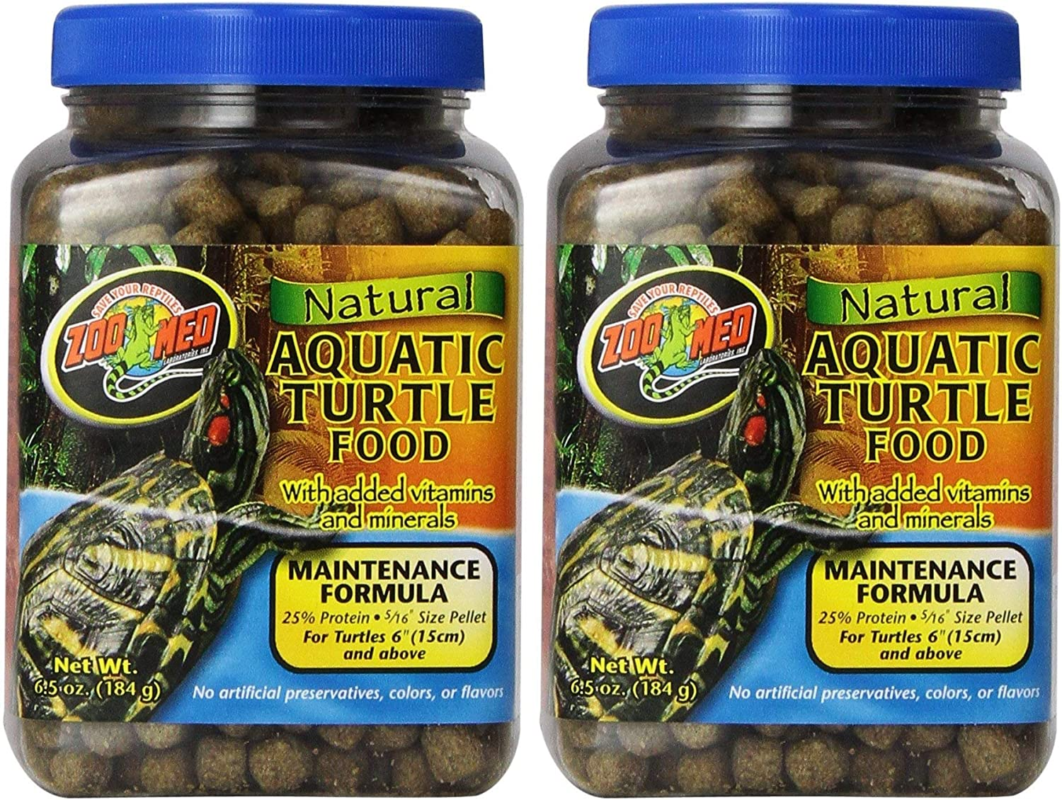Zoo Med Laboratories 2 Pack of Natural Aquatic Turtle Food, 6.5-Ounces Per Container