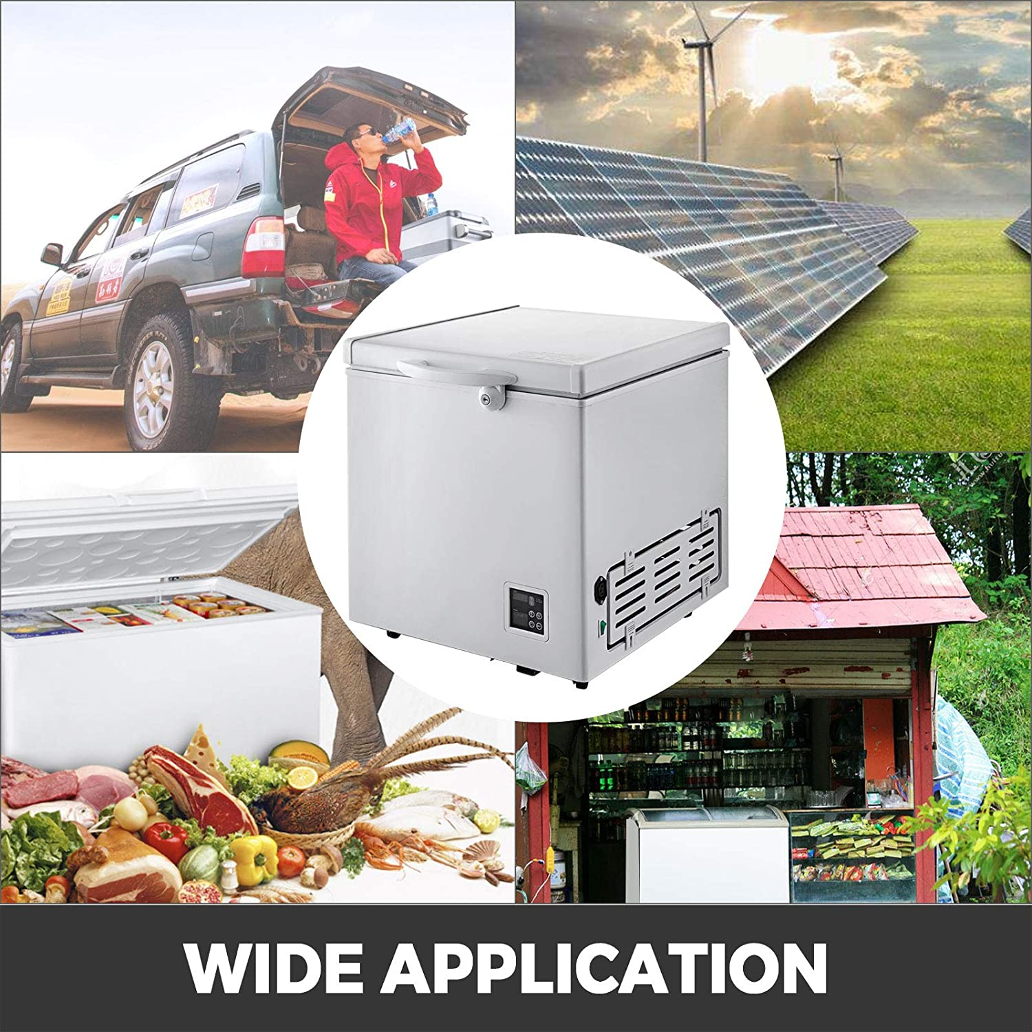 VBENLEM Chest Freezer,63 Quart Commercial RV Deep Freezer,2.1 cu.ft Compact Vehicle Electric Cooler Fridge 12V//24V DC With Lock for Car Home Camping Truck Party,-0.4℉-32℉ Suit for Solar Power