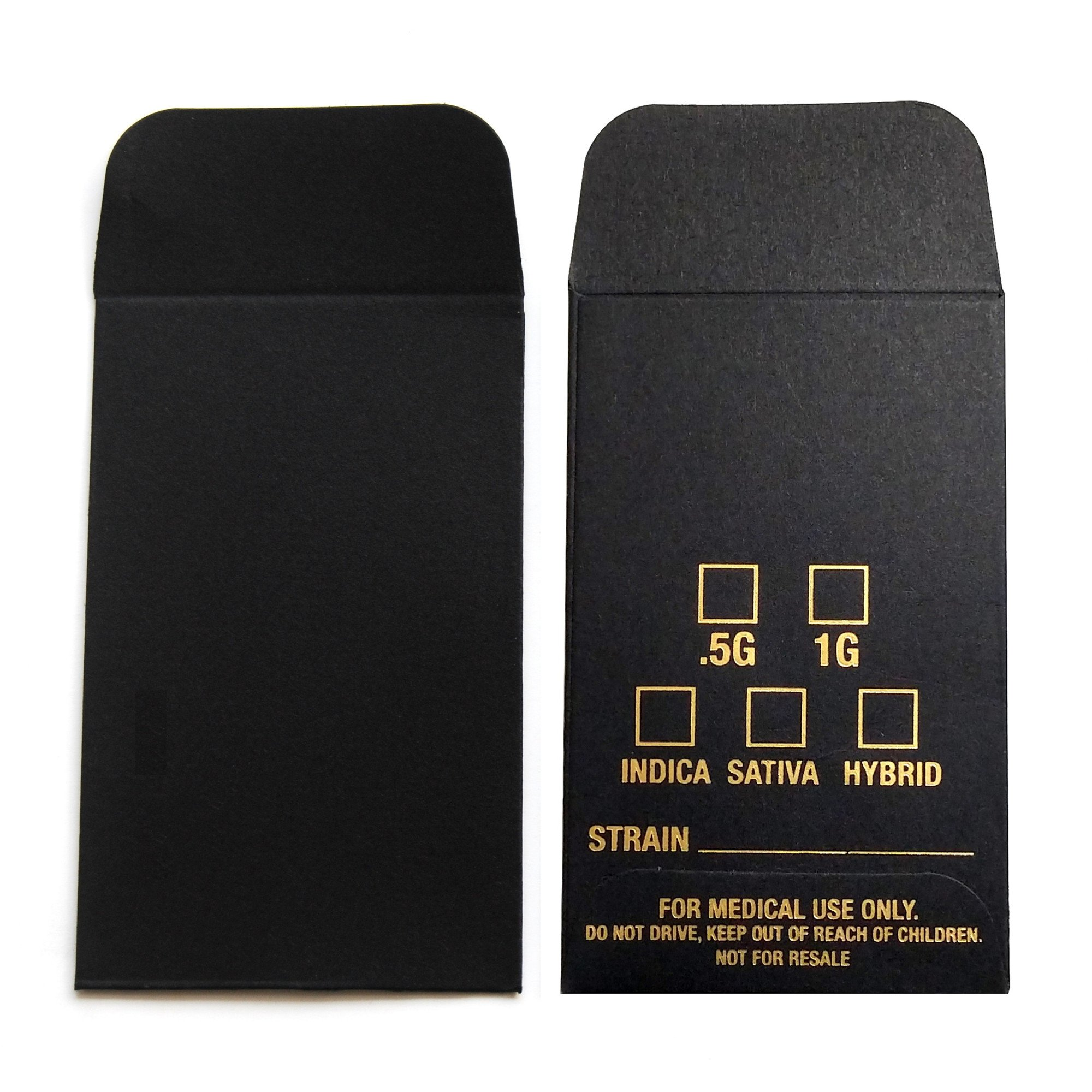 100 Black Gold Oil Wax Extract Coin Envelopes 2.25'' X 3.5'' #1 Stamped Label Version Version by Shatter Labels