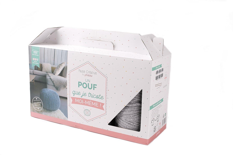 Phildar Kit pouf-loisir Kreative, Baumwolle, Grau Meliert, 40x 40x 30cm kit Pouf DIY