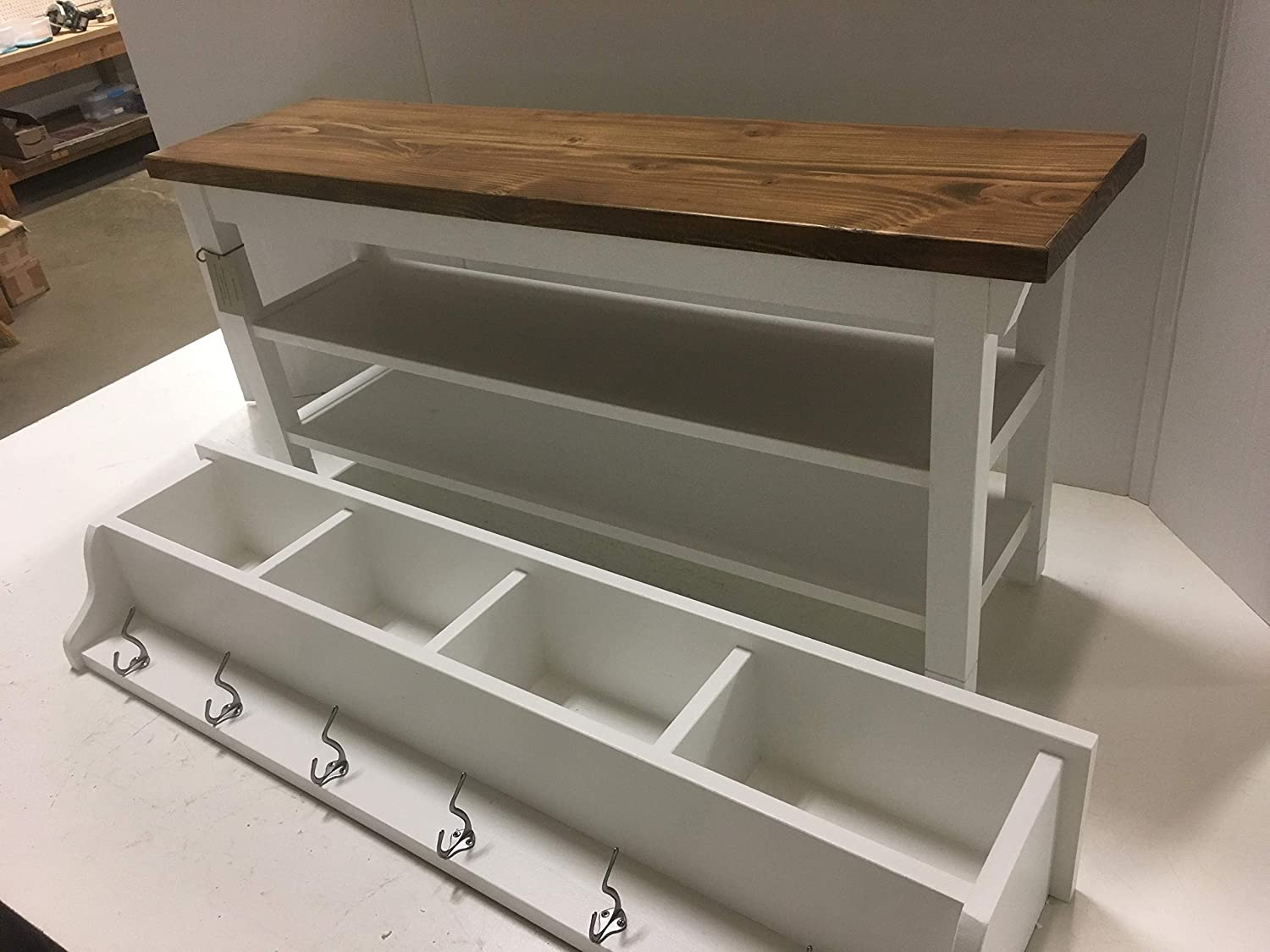 Miraculous Hallway Mud Room Foyer Bench 40 Inch With Second Shoe Shelf And Matching Coat Rack Cubbie Ibusinesslaw Wood Chair Design Ideas Ibusinesslaworg