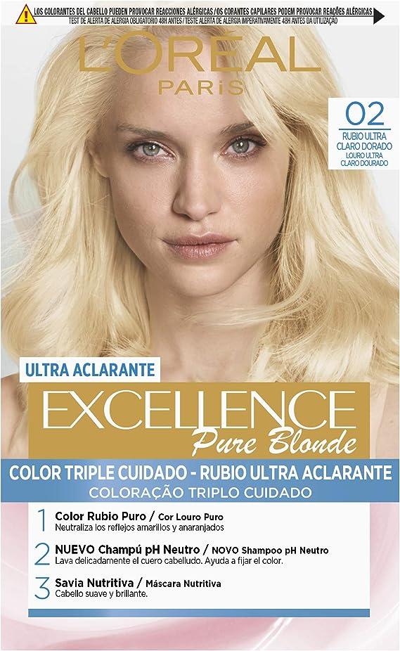 LOréal Paris Excellence Coloración Crème Triple Protección, Tono 02 Rubio Ultra Claro Dorado -50 ml