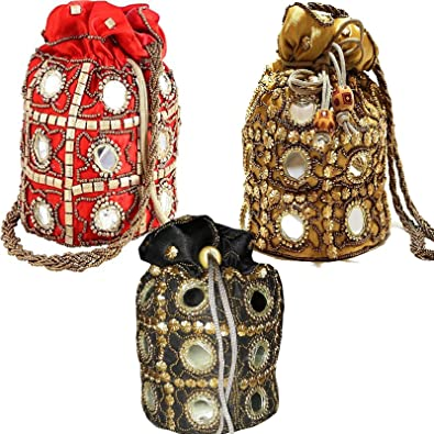 WholeSale 50 pc lot Bulk Indian Bridal Wedding Bag purses Women Potli Bag  Coin Ethnic Shoulder Bag Hand bag by Craft Place AA-35  Handbags  Amazon.com f7b5b11169654