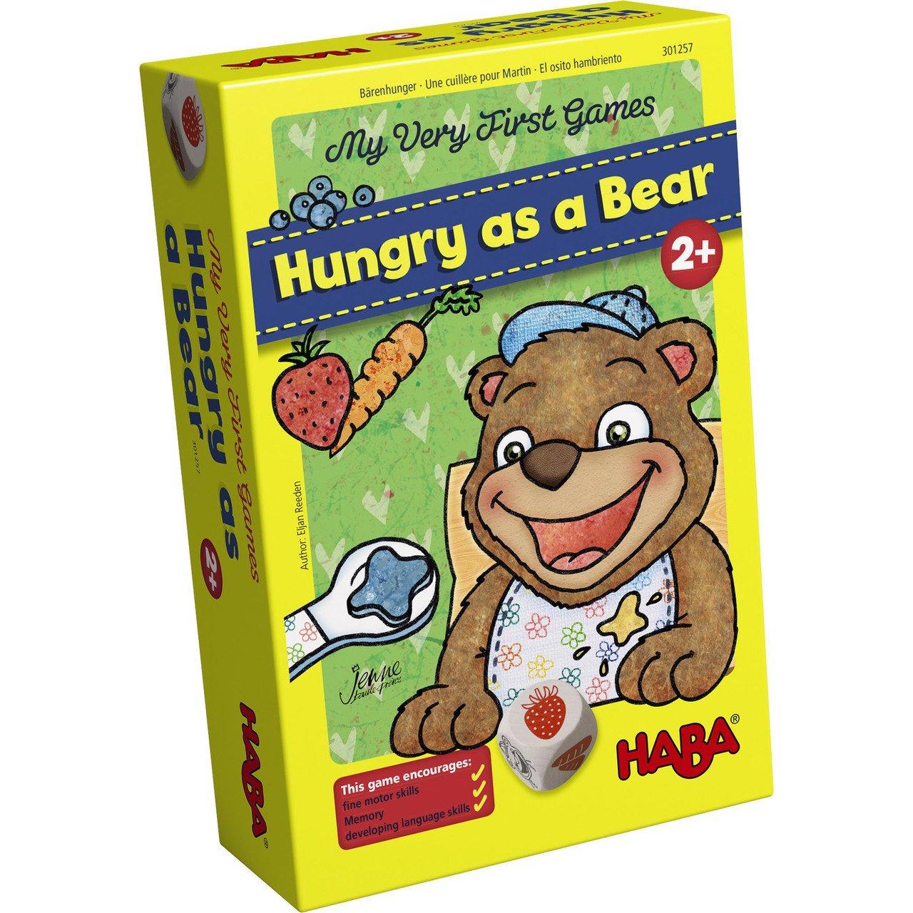 Haba 300171 - Meine Ersten Spiele – Bärenhunger | Lustige Spielesammlung für 1-3 Spieler ab 2 Jahren | mit Süßem Bären-Aufsteller Zum Füttern 301257 Kinderspiele Non Books