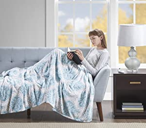 "Beautyrest Senna Electric Blanket Plush Throws-Secure Comfort Technology-Oversized 60"" x 70""-Damask Pattern-Cozy Soft Microlight Blankets-3-Setting Heat Controller, 60 x 70, Aqua"