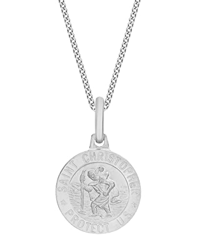 Tuscany Silver Sterling Silver Small St Christopher Pendant on Curb Chain of 51 cm/20 inch Y9TzY