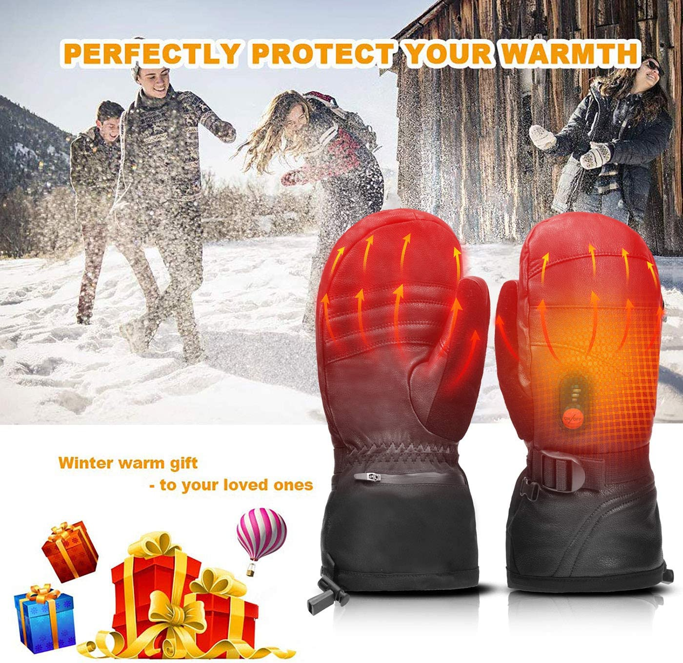 day wolf Heated Gloves Men Women Heated Mittens Ski,7.4V 2200MAH Electric Rechargeable Battery Gloves for Winter Skiing Skating Snow Camping Hiking Heated Arthritis Hand Warmer Glove