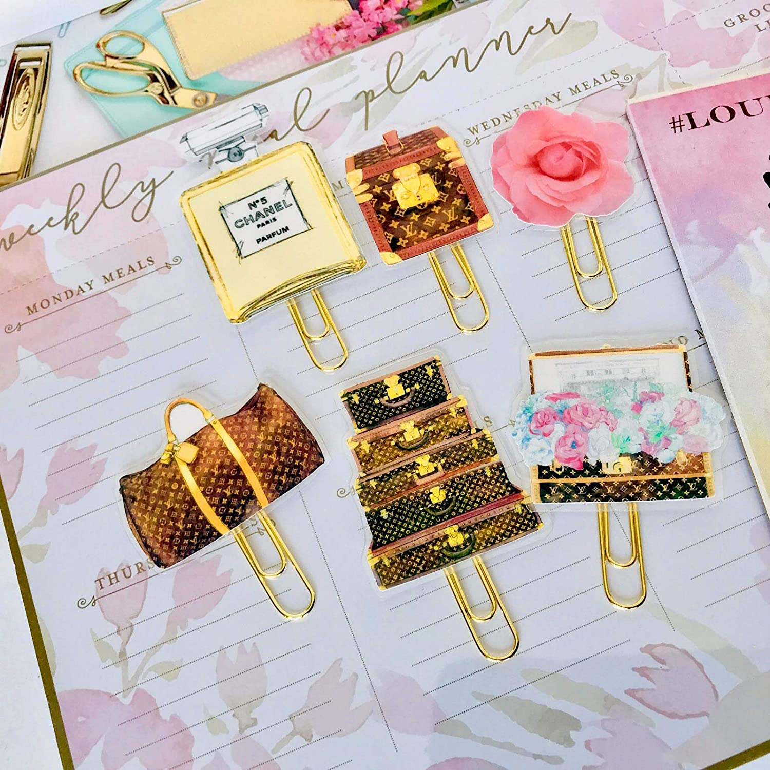 Handmade Laminated Planner Paper Clip Set Journal and Organizer Unique LV Inspired Planner Paper Clip Bookmark Planner Novelty Paper Clips Personal Planner Accessory Happy Planner |