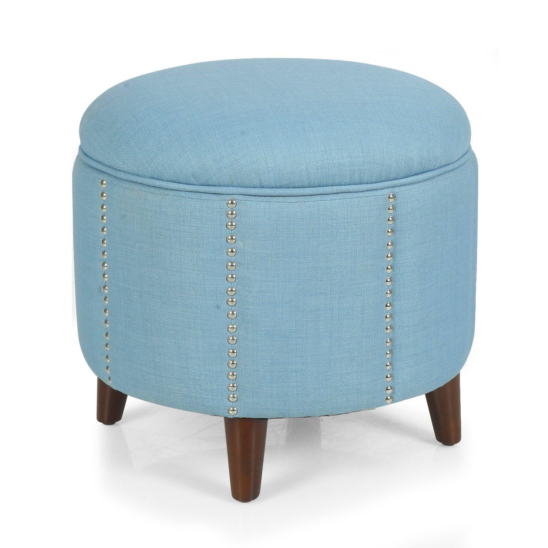 DecentHome Stylish Button Tufted Lift Round Storage Ottoman Footstool Seat, Blue