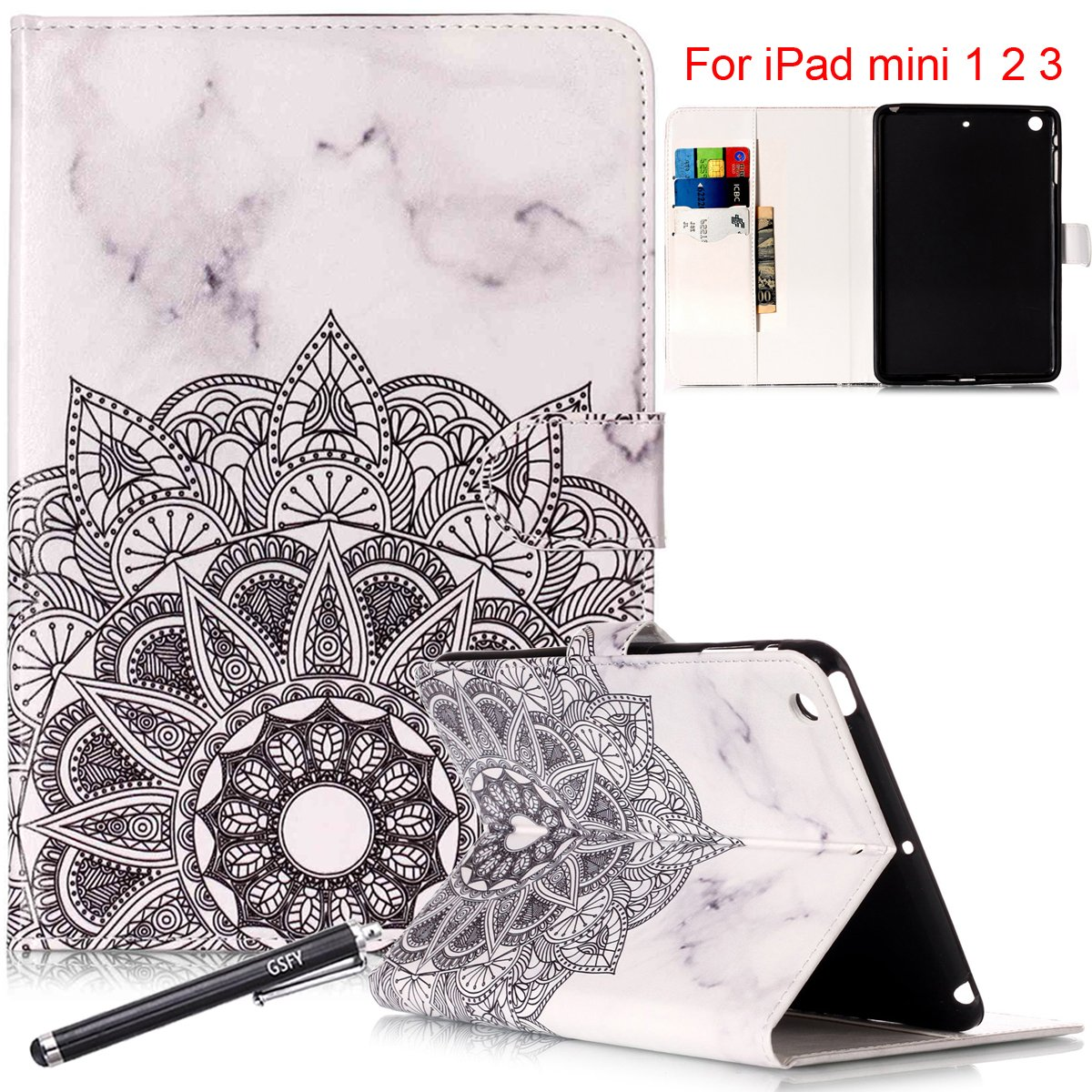 iPad MiniケースiPad mini 1 / 2 / 3ケース, Newshine [パーフェクトフィット] PUレザー磁気フリップ財布SmartShell [スタンド機能]ケースカバー[自動スリープ/スリープ解除機能]付きApple iPad Mini 3 / 2 / 1  02 Marble&Flower B076CFJ8LG