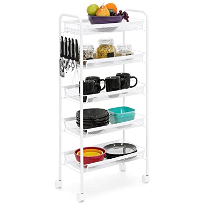 Phenomenal Best Choice Products 5 Tier Wire Mesh Rolling Cart For Household Storage Kitchen Organization White Best Image Libraries Thycampuscom