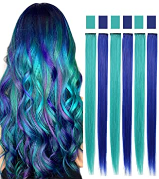Blue Teal Hair Extensions Colored Party Highlights Straight Hair Extension Clip In On For Amercian Girls And Dolls Kids Costume Wig Pieces 6 Pcs