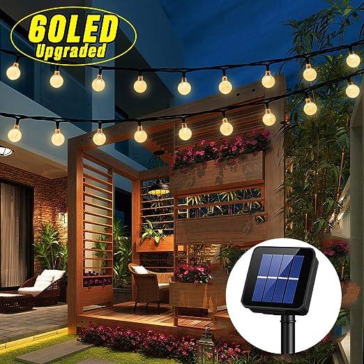 OxyLED Luces de cuerda solares,60 LED Patio de jardín Luces de cadena,Luces de cuerda interiores/exteriores impermeables,Terraza de gran jardín Patio Luces de Navidad exteriores (Luz de ambiente): Amazon.es: Iluminación