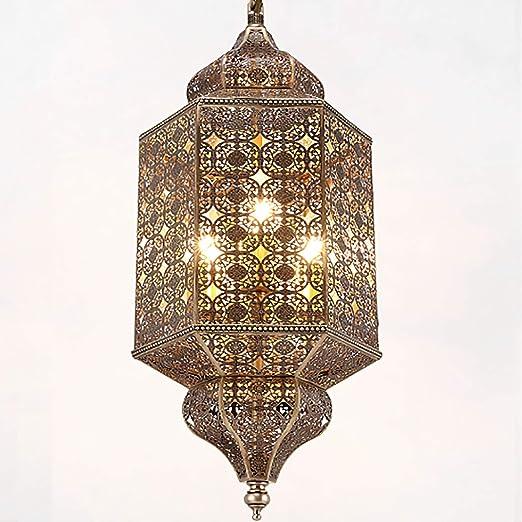 Pn&cc Lámpara Colgante Vintage de la Industria Lámparas de Techo Pantalla, lámpara de araña marroquí Lámpara Colgante árabe Turco clásico Calado Lámpara de latón Antiguo: Amazon.es: Hogar