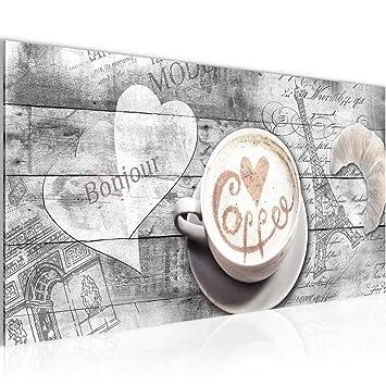 Bilder Kaffee Küche Wandbild Vlies - Leinwand Bild XXL Format Wandbilder  Wohnzimmer Wohnung Deko Kunstdrucke Grau 1 Teilig - MADE IN GERMANY -  Fertig ...