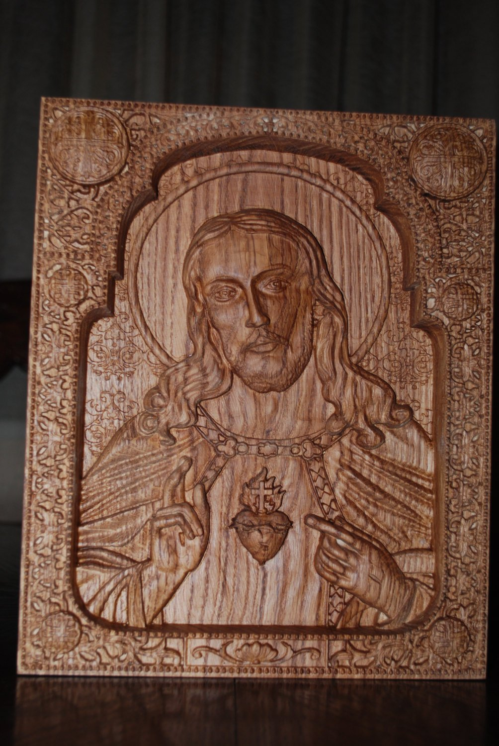 Sacred Heart of Jesus Catholic Icon Religious wedding anniversary gift for him gift Wood Carved religious wall plaque FREE ENGRAVING FREE SHIPPING