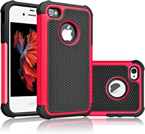 Tekcoo Compatible for iPhone 4S Case/iPhone 4 / 4G Cover, [Tmajor] Shock Absorbing Hybrid Best Impact Defender Rugged Slim Grip Bumper Cover Shell Plastic Outer & Rubber Silicone Inner [Red/Black]