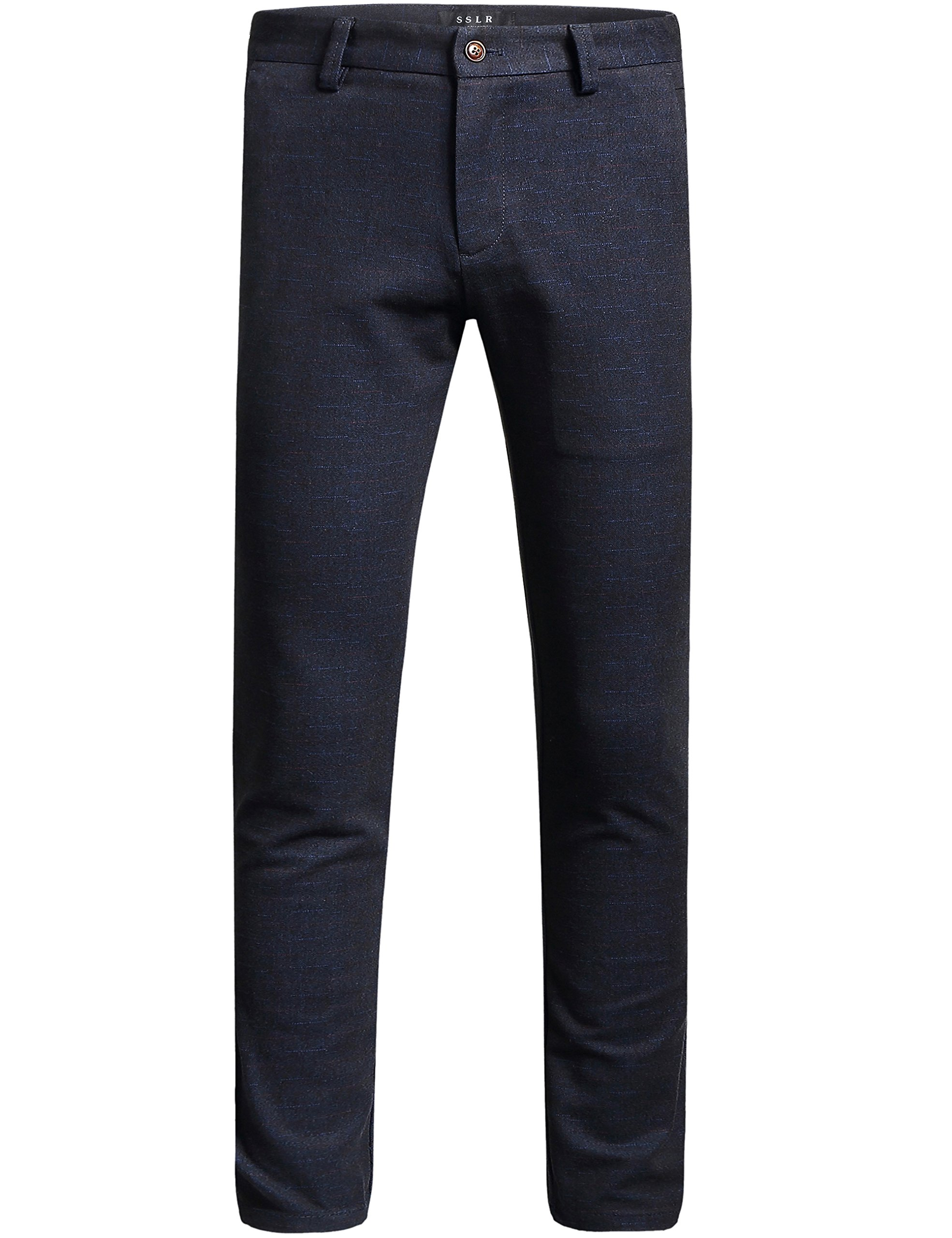 SSLR Men's Slim Fit Straight Leg Business Casual Pants (36, Black Blue)