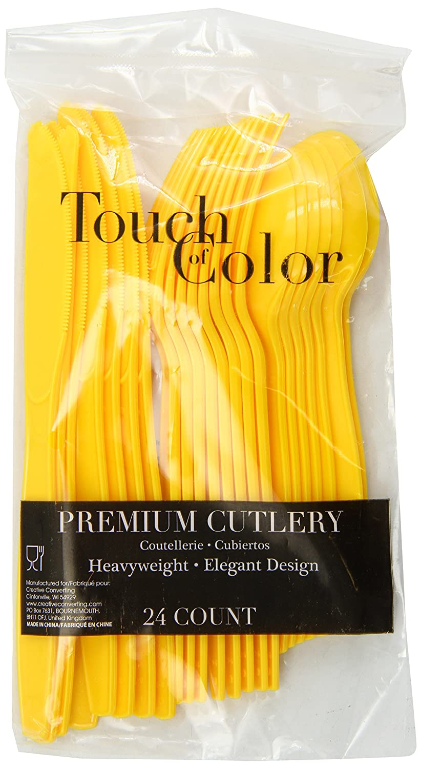 Amazon.com   Creative Converting Premium Plastic Cutlery (Fork, Spoon, Knife) Assortment, School Bus Yellow Color, Package Of 24, (Pack of 12): Disposable ...