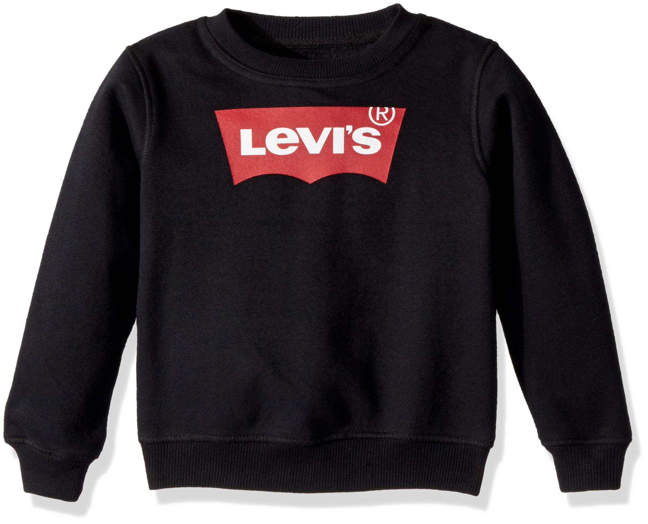 Levi's Boys' Toddler Crewneck Sweatshirt, Black Beauty/Red 3T