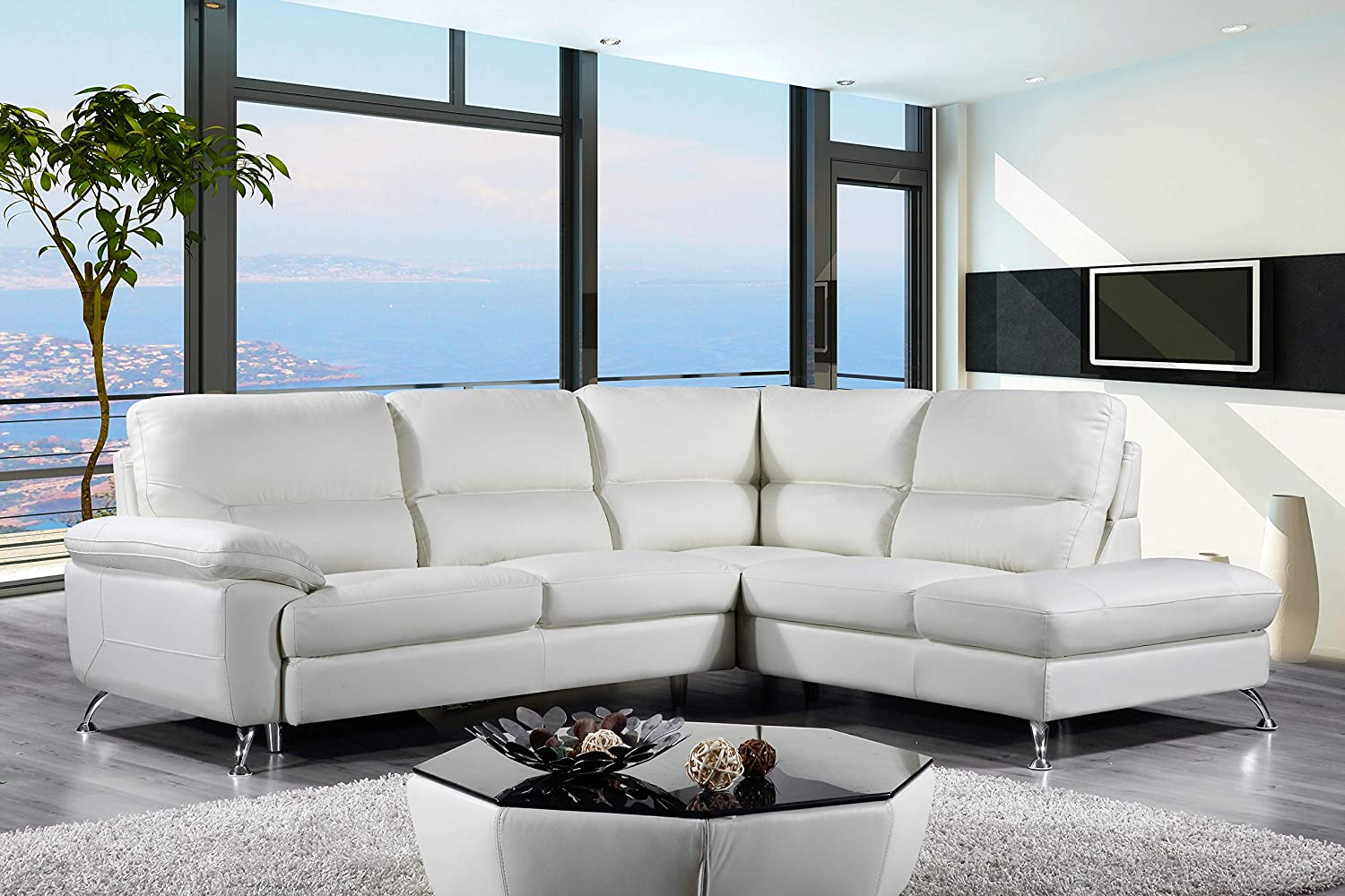 Cortesi Home Contemporary Orlando Genuine Leather Sectional Sofa with Right  Chaise Lounge, Off White 98\
