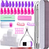 SIQUK Nail Polish Remover Tools Kit Including 750 Pcs Wipe Cotton Pads 20 Pcs Nail Clips Caps 5 Pcs Nail File Triangle Cuticle Pusher and Cutter Set Professional Gel Nail Polish Removal Accessories