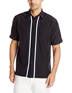 7f274c1ed6 Cubavera Men s Short Sleeve Tri-Color Panel Woven Button-Down Shirt W Pocket