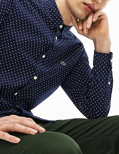 Lacoste Camisa CH4877 Topos Azul Hombre 40 Marino: Amazon.es ...