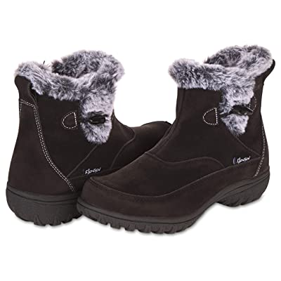 Floopi Boots for Women All Weather Cold Resistant Insole Fur Lined Zipper Ankle Snow Boots: Shoes