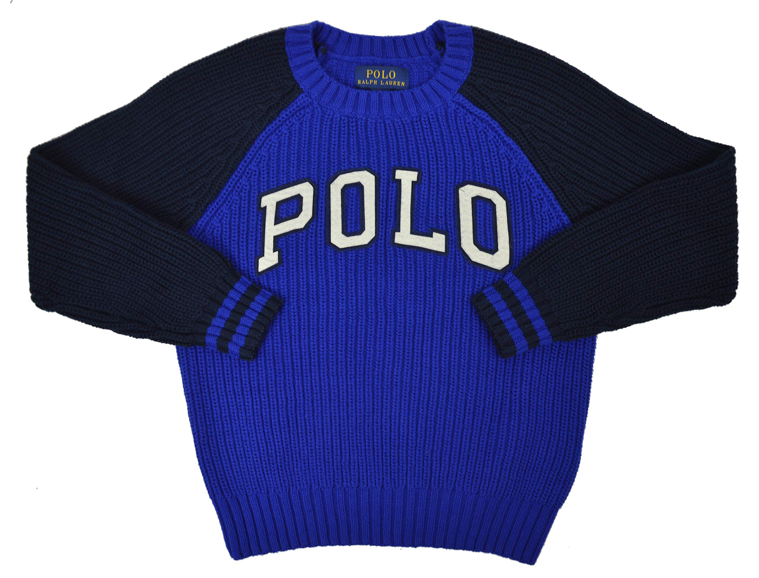 Polo Ralph Lauren Boys Two Tone Knit Crewneck Sweater Royal Blue (2T Toddlers)