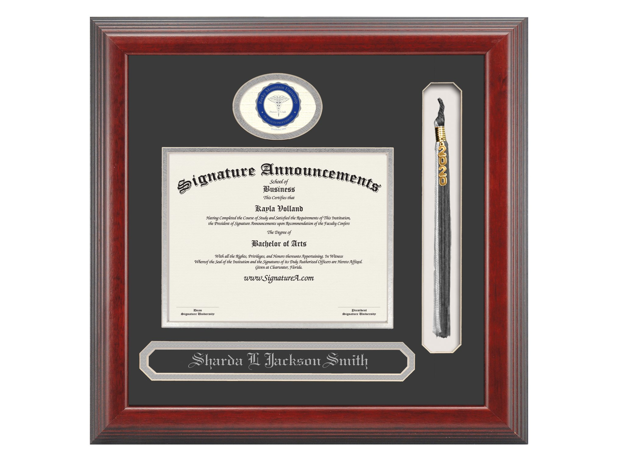 Signature Announcements Rocky-Mountain-University-of-Health-Professions Doctoral Sculpted Foil Seal, Name & Tassel Graduation Diploma Frame, 20'' x 20'', Cherry