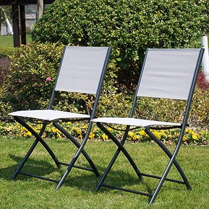 Merveilleux PatioPost Sling Outdoor Chairs 2 Pack Textilen Mesh Fabric Folding Armless  Chair, Tan