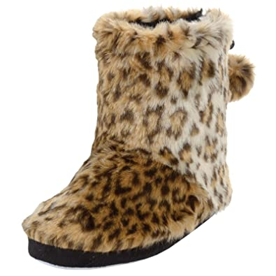 0005b0208eaf Ladies Plush Faux Fur Brown Leopard Animal Print Lined Bootie Slippers - UK  6