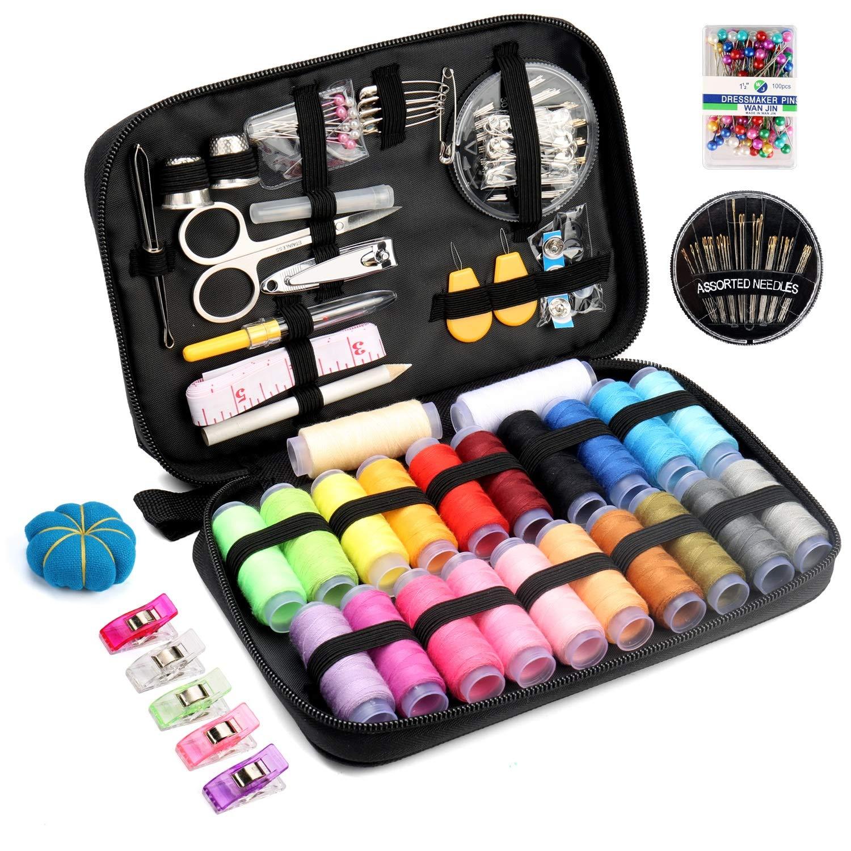 Qisiewell Kit de Costura con 238 Piezas Premium Accesorios Portátil Costurero de Viaje 22 Colored Carretes