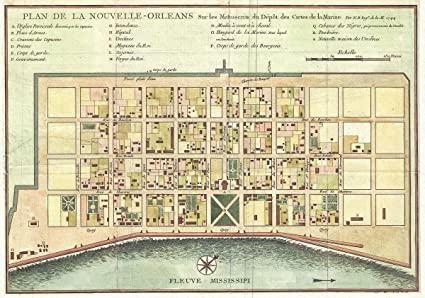 graphic regarding Printable Maps of New Orleans called : Historic 1744 Bellin Map of Clean Orleans