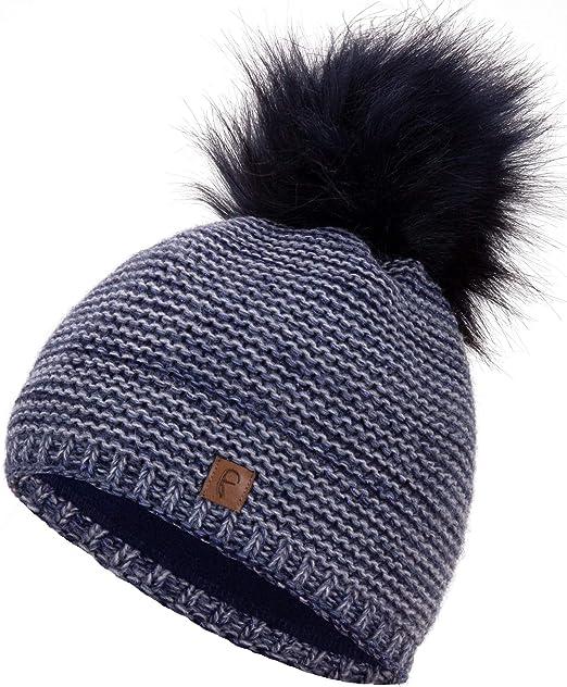 Damen Herren Warmer Bommel-Mütze Pudel-Mütze Winter-Mütze Strick-Mütze Wollmütze