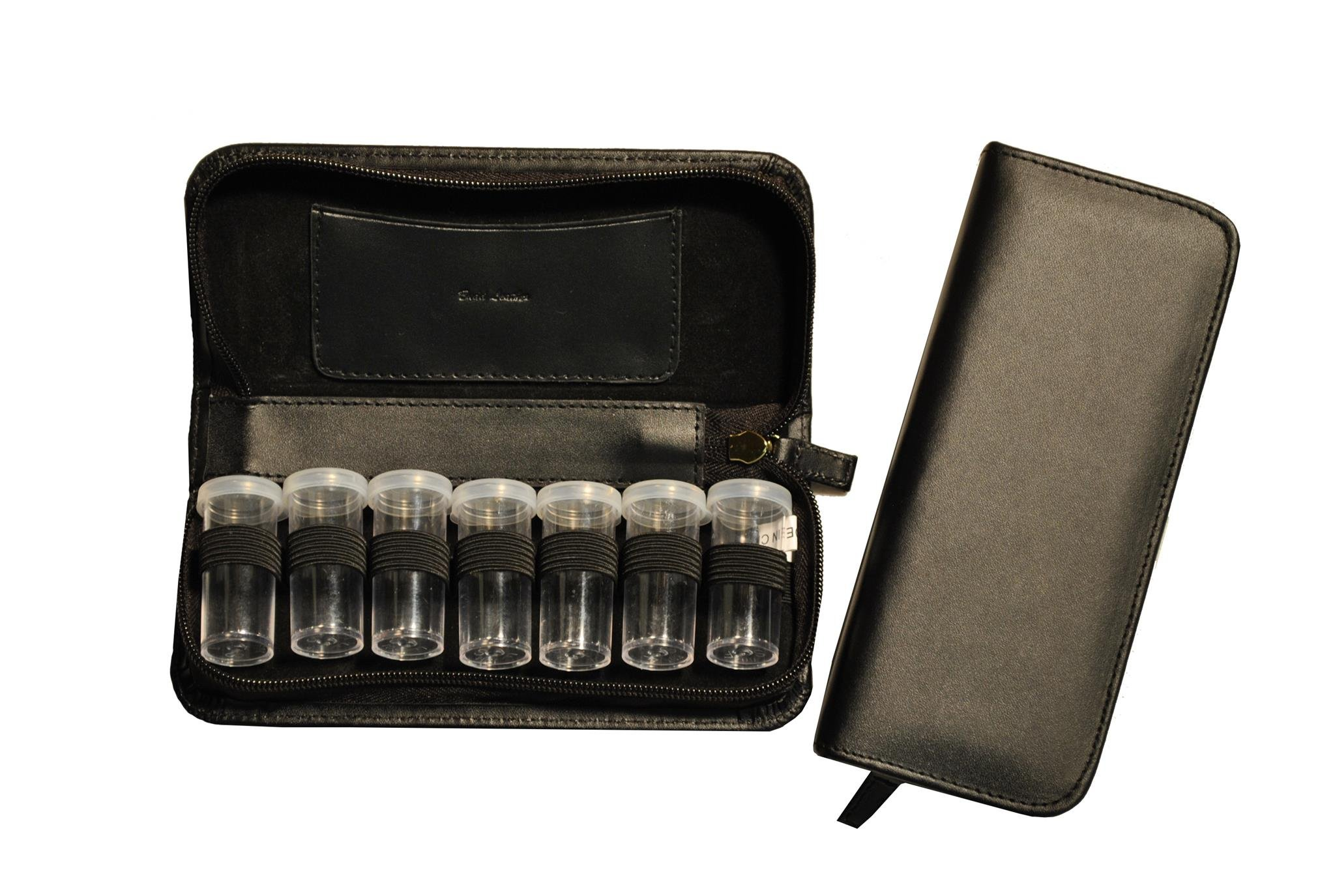 Leather Vial Pill Case No. 7, Black, 0.40 Ounce by Budd Leather