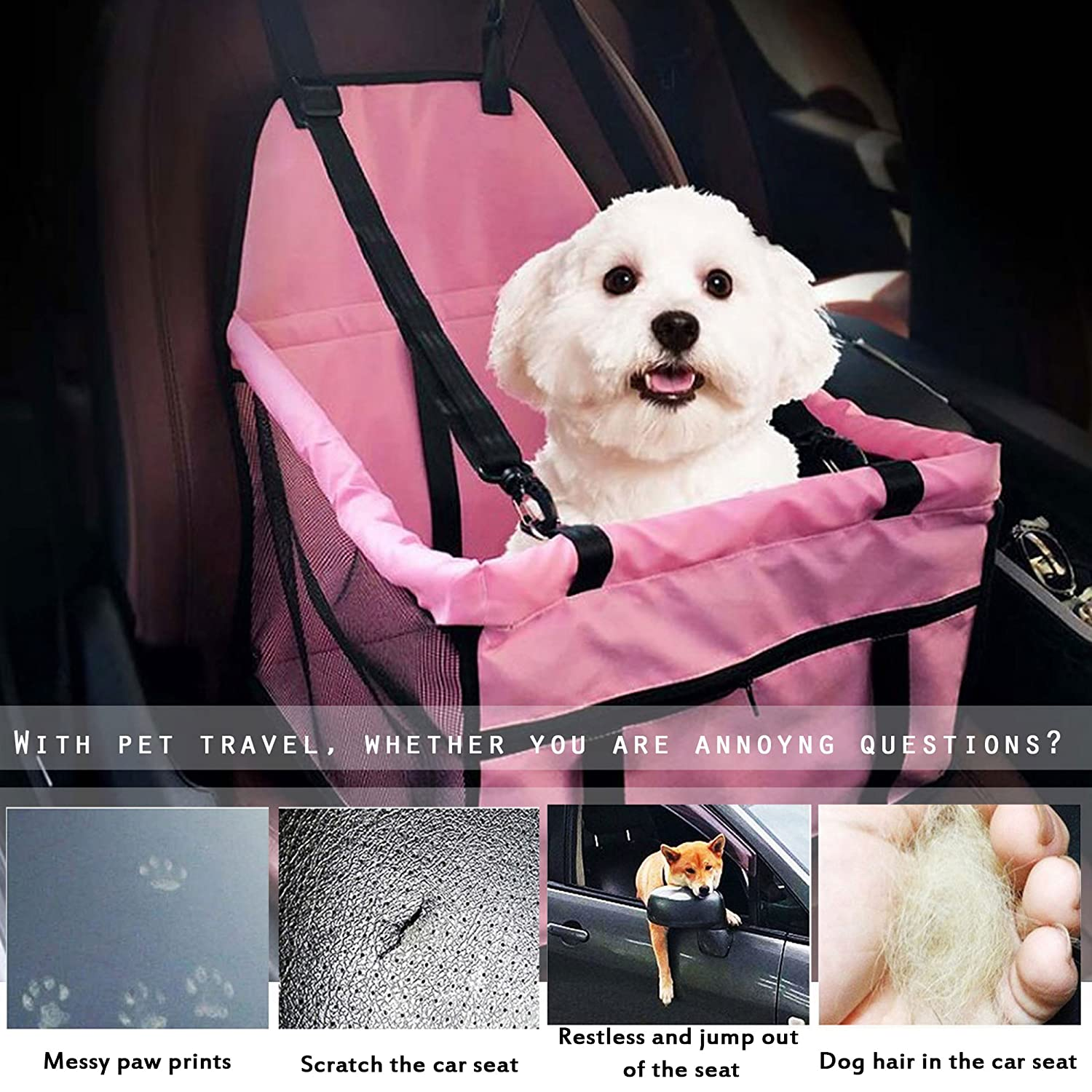 Grey Powkoo Pet Car Booster Seat with Clip-On Safety Leash and Zipper Storage Pocket