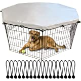 "YGCASE Universal Dog Playpen Cover Sun/Rain Proof Top, Provide Shade and Security for Outdoor and Indoor, Fits All 24"" Wide 8"