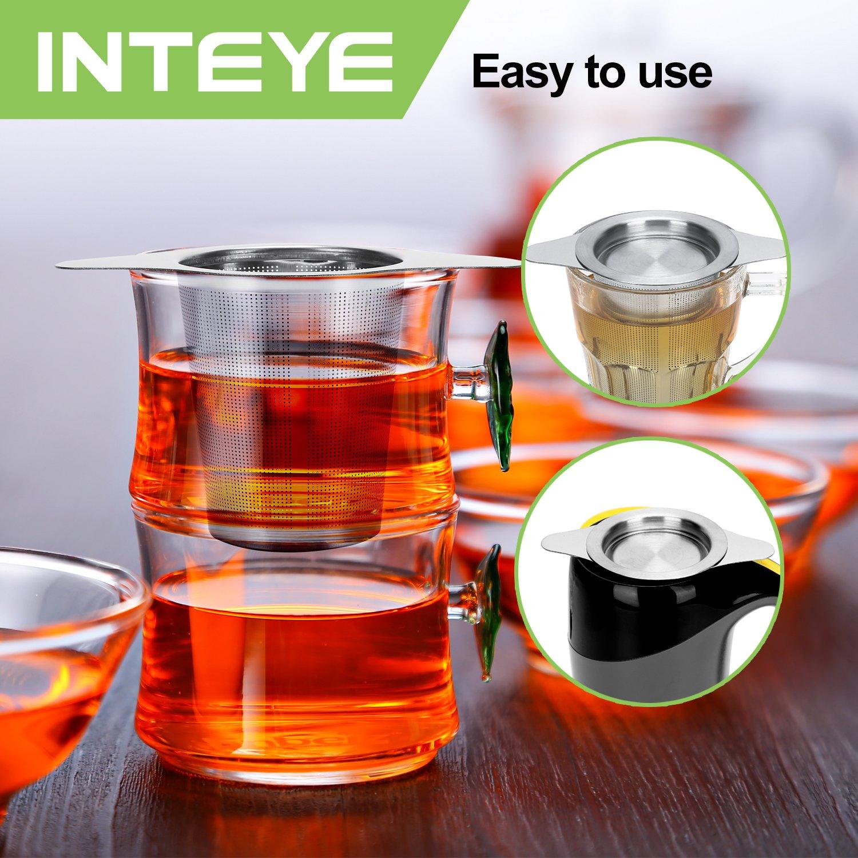 Best Tea Infuser for Loose Leaf Tea,4 PACK Tea Strainer Combo Kits Including-Double Handles Large Tea Steeper, Single Long Handle Tea Filter, Small Cup infuser & Metal Tea Scoop-FDA Approved. by INTEYE (Image #8)