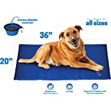 Unleashed Pets Large Self Cooling Pressure Activated Pet Cooling Gel Pad Mat + Collapsible Food Bowl for Dogs, Cats, all Pets, Non-Toxic, Perfect for Travel, Floor, Couch, Car Seat, Pet Bed & Kennel