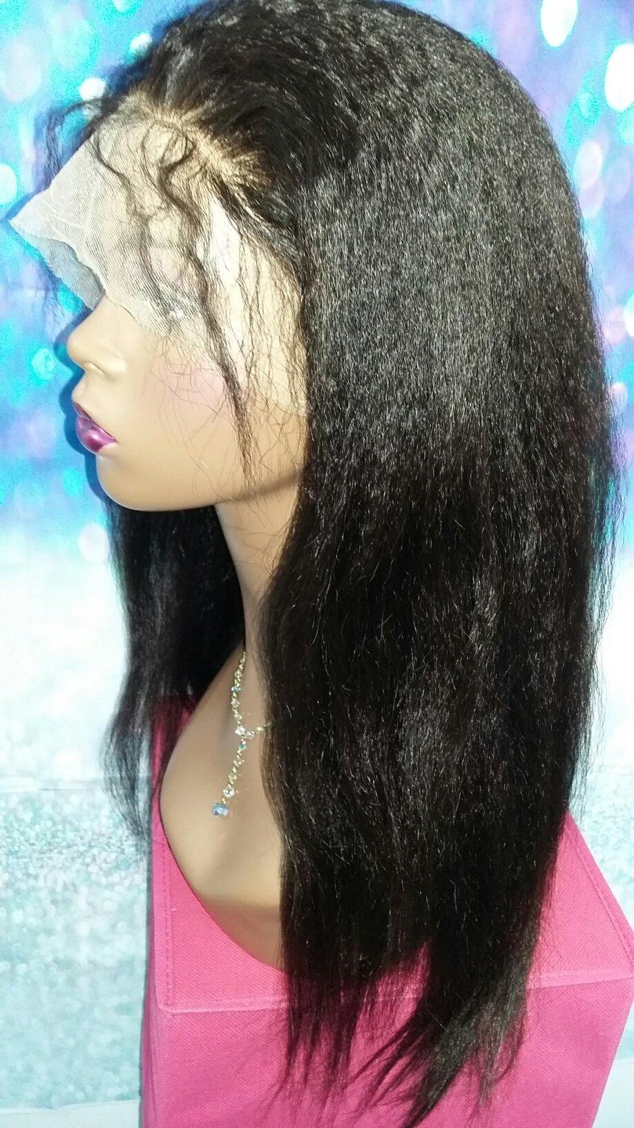 16 INCH HUMAN HAIR FULL LACE WIG KINKY STRAIGHT BRAZILIAN VIRGIN MEDIUM CAP